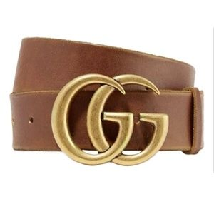 Gucci Brown Marmont Leather Gold 80 32 Belt